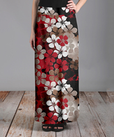 Lily Tan & Red Floral Maxi Skirt - Plus Too