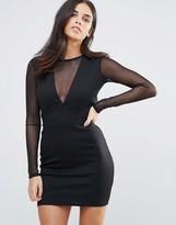 Oh My Love Mesh Sleeve Open Back Mini Dress