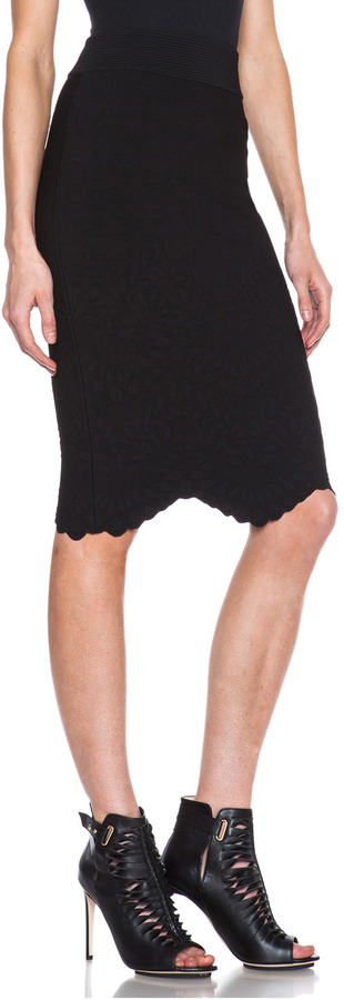 Alexander McQueen Embossed Knit Pencil Skirt in Black