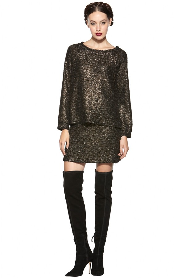 Alice + Olivia Mayer Long Sleeve Boxy Raglan Top