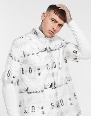 Asos Design DESIGN boxy fit transparent print shirt-White