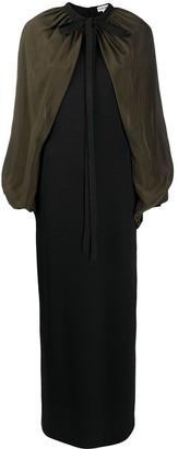 Loewe Cape-Sleeve Two-Tone Dress