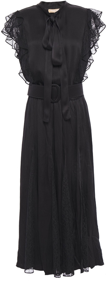 Michael Kors Collection Pussy-bow Lace-paneled Ruffle-trimmed Satin-crepe Midi Dress