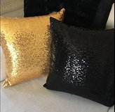 ShinyBeauty Gold-Sequin Pillow Cover-12x12-Inch,Shimmer Pillow Cover,Sparkly Sequins Pillow Cover (Gold)