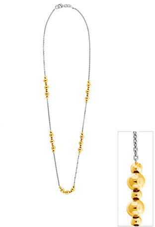 Lord & Taylor Two-Tone Beaded Station Necklace