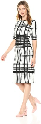Taylor Dresses Women's Elbow Sleeve Placed Print Plaid Stretch Knit Jacquard Dress