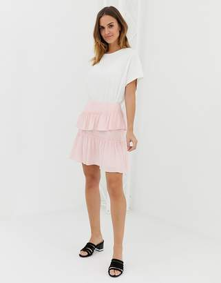 Naf Naf layered frills mini skirt-Pink