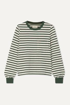 Madewell Caressa Striped Cotton-blend Jersey Top - Dark green