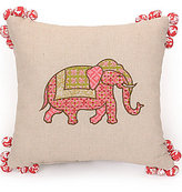 Jessica Simpson Amrita Embroidered Elephant Pom-Pom Square Pillow