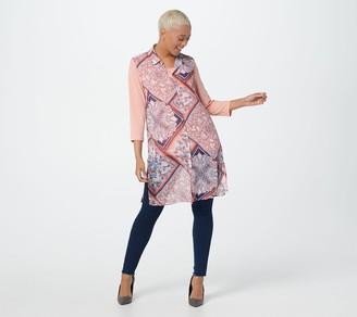 Susan Graver Printed Sheer Chiffon Button Front Vest Set
