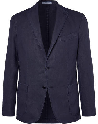 Boglioli Navy K-Jacket Slim-Fit Unstructured Linen Suit Jacket