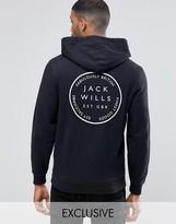 Jack Wills Hoodie With Back Print In Black Exclusive