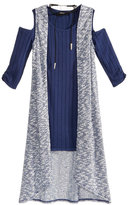 Sequin Hearts 3-Pc. Cold-Shoulder Sweater Dress, Duster Vest and Necklace Set, Big Girls (7-16)