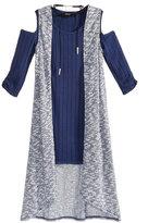 Sequin Hearts 3-Pc. Cold-Shoulder Sweater Dress, Duster Vest & Necklace Set, Big Girls (7-16)