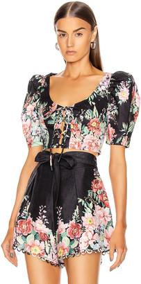 Zimmermann Bellitude Laced Crop Top in Dark Navy Floral | FWRD