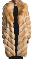 Gorski Fox-Collar Sable-Fur Coat, Tan
