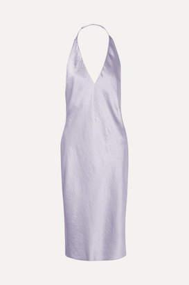Alexander Wang Crinkled-satin Halterneck Dress - Lilac