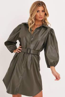 I SAW IT FIRST Khaki Belted Puff Sleeve Faux Leather Shirt Dress