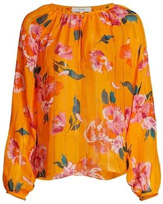 Joie Kriston Floral Ruffle-Trim Silk Top