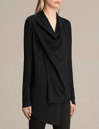 AllSaints Drina draped merino wool cardigan