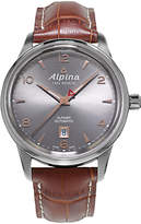 Alpina Al-525vg4e6 Alpiner Automatic Date Leather Strap Watch, Brown/silver