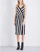 Marc Jacobs Striped crossover crepe midi dress