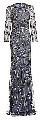 Theia Women's Long-Sleeve Jewel-Neck Embroidered Gown