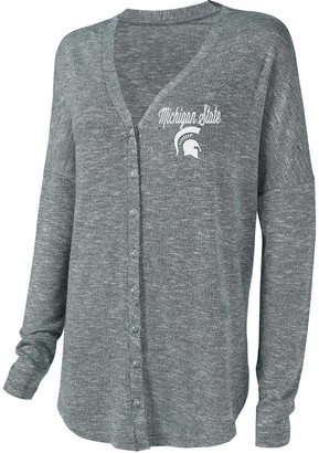 Unbranded Women's Concepts Sport Green Michigan State Spartans Knit Button-Up Sweater