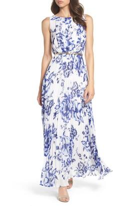 Eliza J Pleated Floral Chiffon Maxi Dress