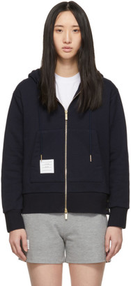 Thom Browne Navy Classic Loopback Zip-Up Hoodie