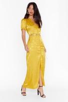 Nasty Gal Womens Don't Try So Jacquard Satin Maxi Dress - yellow - 6