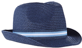 John Lewis Children's Straw Trilby Hat, Navy