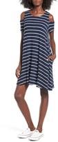 Mimichica Women's Mimi Chica Stripe Knit Cold Shoulder Shift Dress