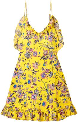 Les Rêveries Ruffled Floral-print Silk-crepe Mini Dress