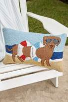 Soft Surroundings Dachshund in Tube Beach Hooked Pillow