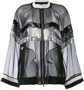 Aviu sheer sequin stripe bomber jacket - women - Silk/Polyester/Viscose - 46