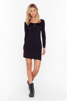 Nasty Gal Womens Call Fit Quits Lace-Up Mini Dress - black - 4