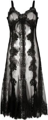 Dolce & Gabbana Sheer Lace Flared Dress
