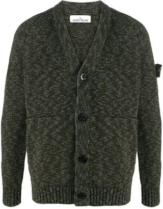 Stone Island Knitted Cardigan With Logo Patch