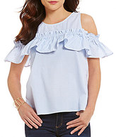 Copper Key Striped Ruffled Cold Shoulder Shirting Top