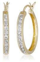 Amazon Collection 10k Gold Round-Cut Diamond Hoop Earrings (1 cttw, I-J Color, I2 Clarity)