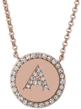 """Effy Diamond Initial Pendant Necklace (1/6 ct. t.w.) in 14k Rose Gold, 16"""" + 2"""" extender"""