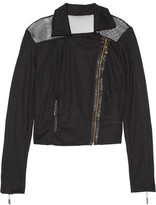 Just Cavalli Faux Leather-Trimmed Mesh Biker Jacket