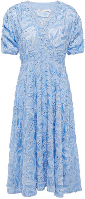 Maje Wrap-effect Embellished Fil Coupe Chiffon Dress