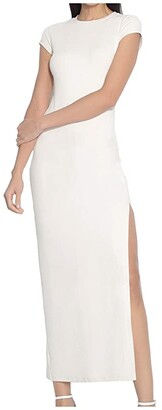 Susana Monaco Short Sleeve Slit Maxi Dress (Blanched Almond) Women's Dress