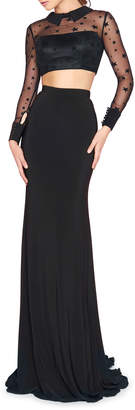 Mac Duggal Long-Sleeve Two-Piece Star-Lace Illusion Gown