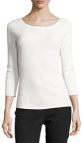 Escada Piqué 3/4-Sleeve Tee, Off White