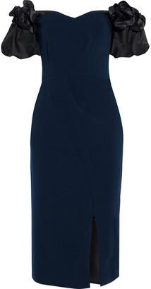 Marchesa Notte Off-the-shoulder Appliqued Satin-paneled Cady Dress
