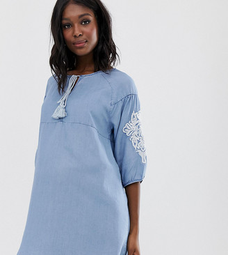 Mama Licious Mama.Licious Mamalicious maternity embroidery sleeve chambray dress-Blue