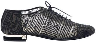 Chanel Black Cloth Lace ups